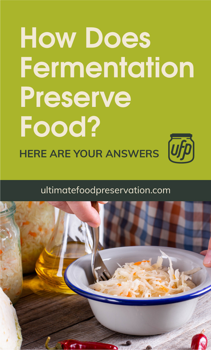 """Text area that says """"All You Need To Know About How Does Fermentation Preserve Food, ultimatefoodpreservation.com"""" followed by a photo of a woman making sauerkraut"""