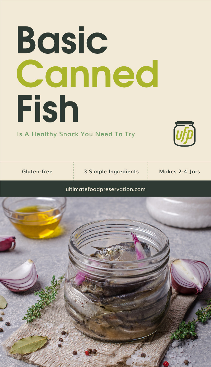 """Photo of text area that says """"Basic Canned Fish Is A Healthy Snack You Need To Tryl, gluten-free, 3 simple ingredients, makes 2-4 jars  ultimatefoodpreservation.com"""" followed by a photo of fish canned in a clear glass jar surrounded by fresh spices"""