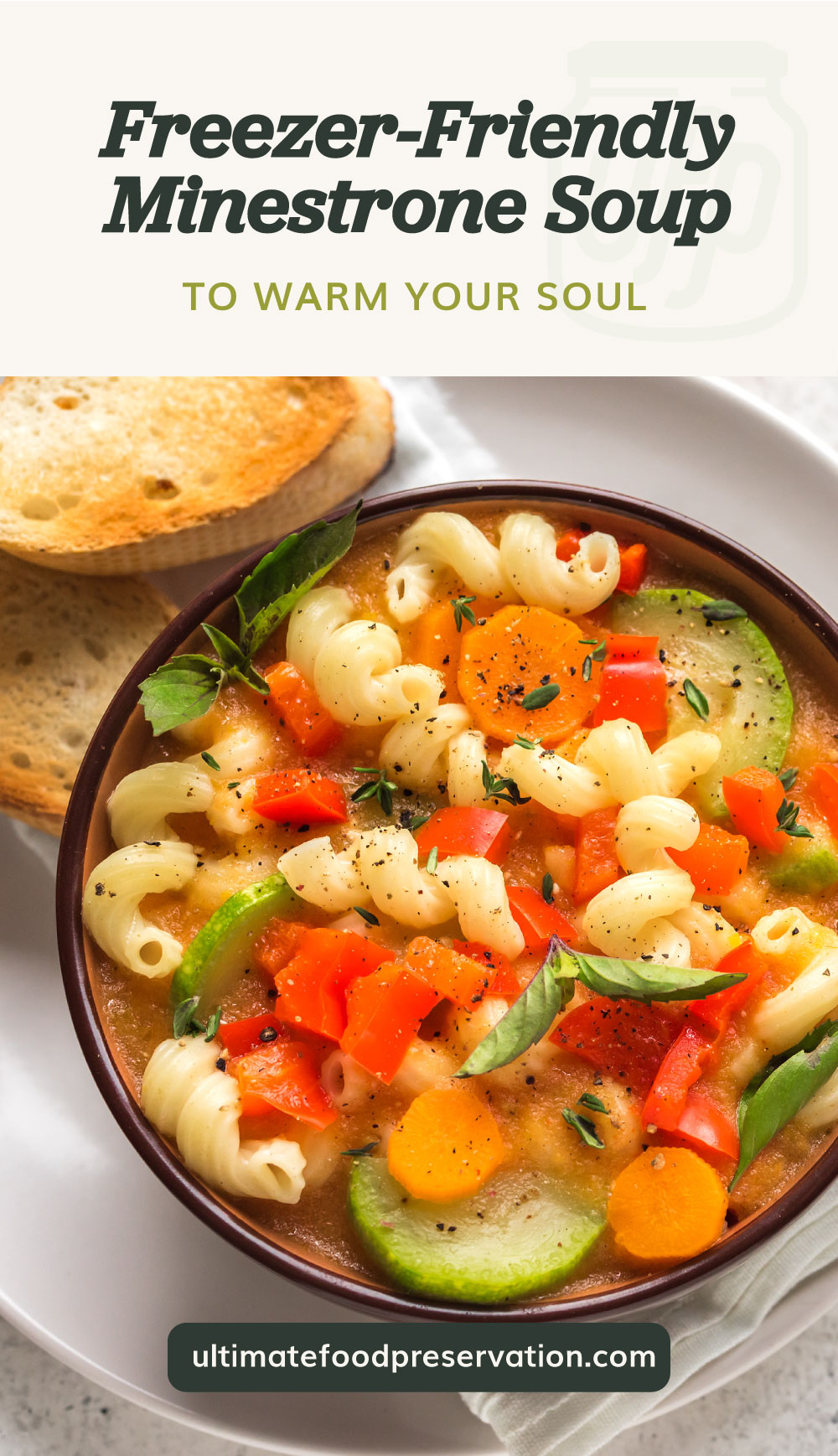 """Text area which says """"Freezer-Friendly Minestrone Soup To Warm Your Soul"""" next to a top view of minestrone soup in abowl served with toasts followed by another text area which says ultimatefoodpreservation.com"""