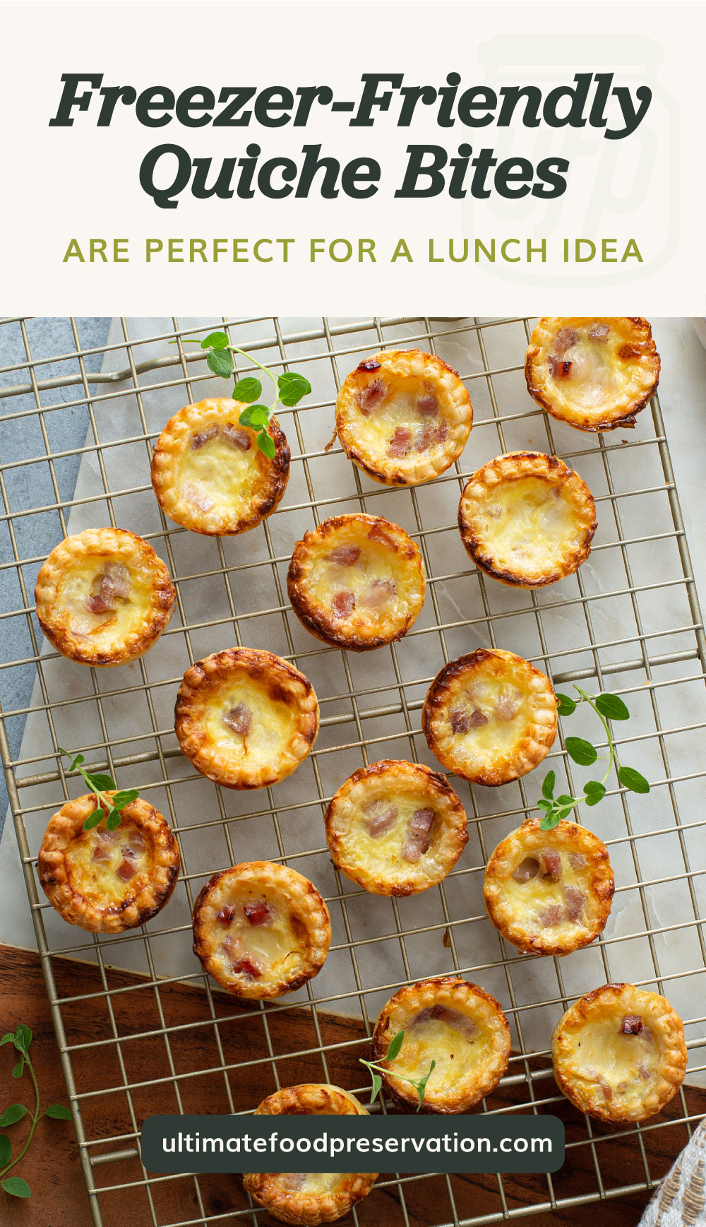 """Text area which says """"Freezer-Friendly Quiche Bites Are Perfect For A Lunch Idea"""" next to a top view of ham and cheese quiche bites on a cooling rack followed by another text area which says ultimatefoodpreservation.com"""