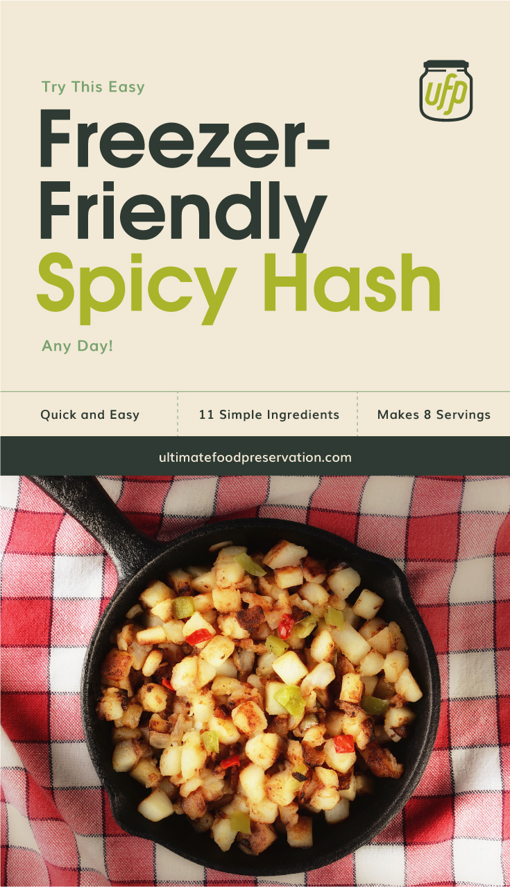 "Text area that says ""Try This Easy Freezer-Friendly Spicy Hash Any Day!, Quick and Easy, 11 Ingredients, Makes 8 Servings, ultimatefoodpreservation.com"" followed by a top view of a spicy hash in a black skillet"
