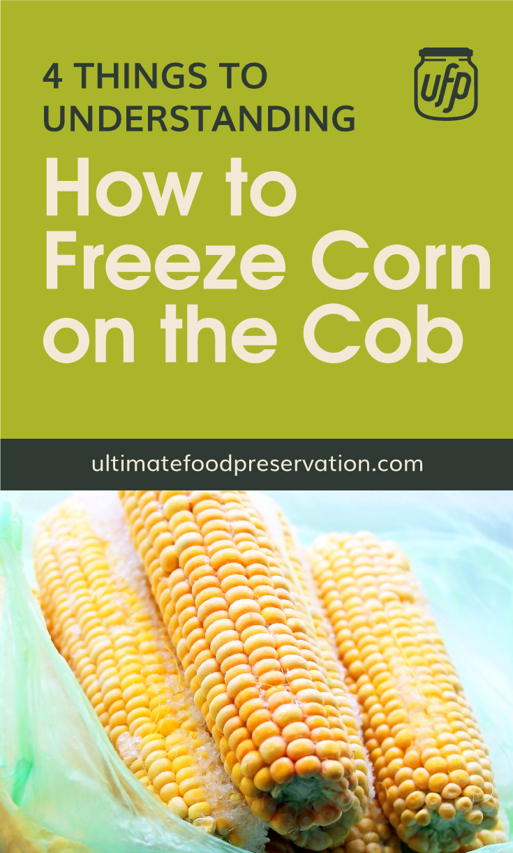 """Text area that says """"4 Things to Understanding How To Freeze Corn on the Cob, ultimatefoodpreservation.com"""" followed by a photo of frozen corn on the cob wrapped in plastic"""