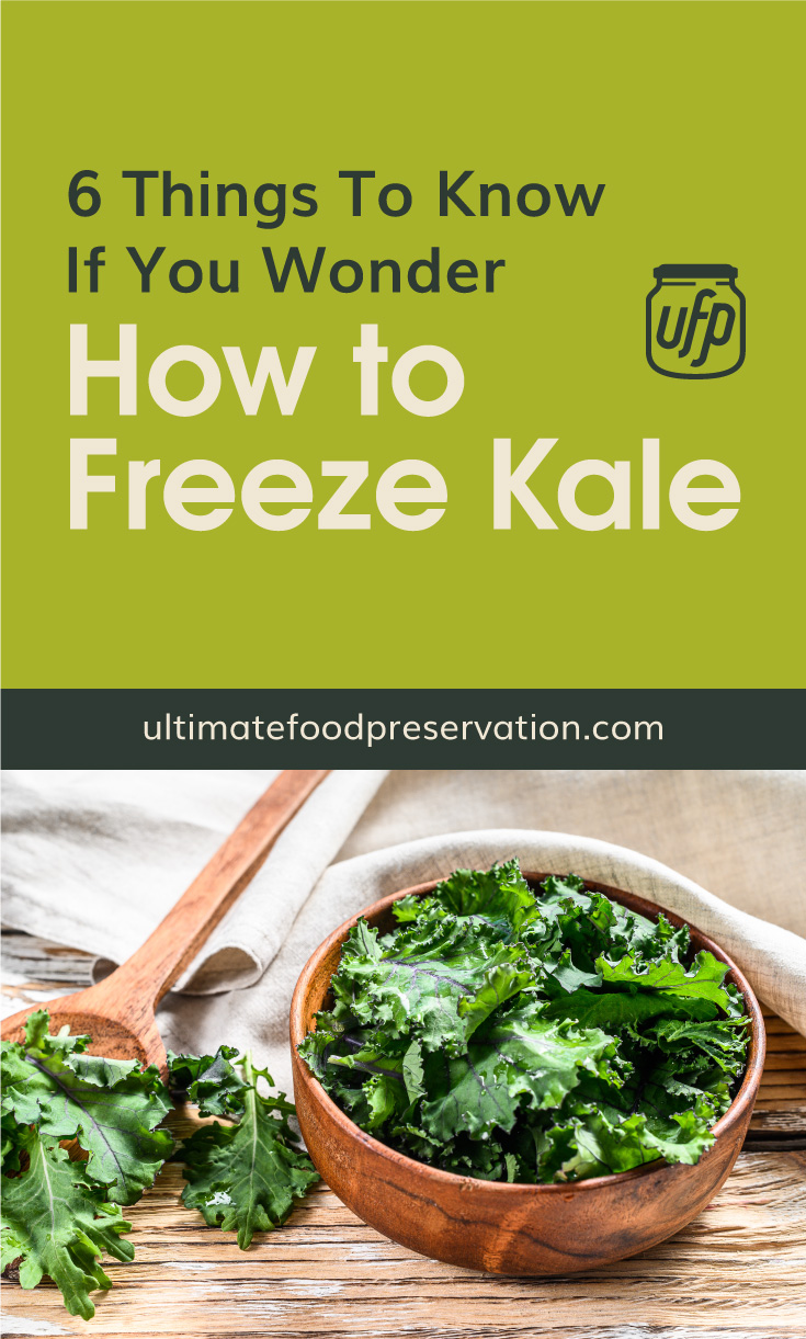"""Text area that says """"6 Things To Know If You Wonder How To Freeze Kale, ultimatefoodpreservation.com"""" followed by a fresh green superfood kale leaves in wooden bowl. Organic vegetarian food."""