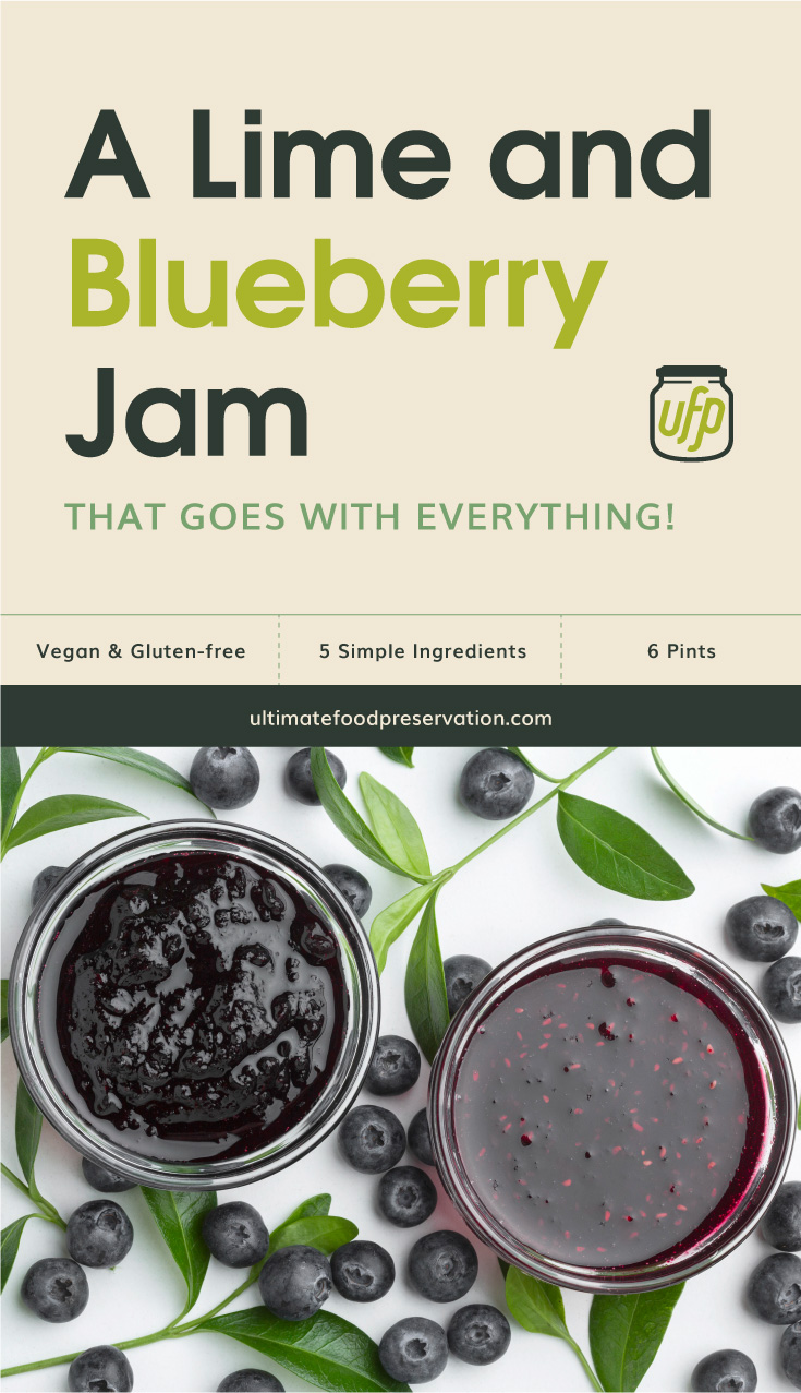"""Text area that says """"A Lime and Blueberry Jam That Goes With Everything!, Vegan & Gluten-Free, 5 Ingredients, 6 Pints, ultimatefoodpreservation.com"""" followed by arrangement with blueberries and jam"""