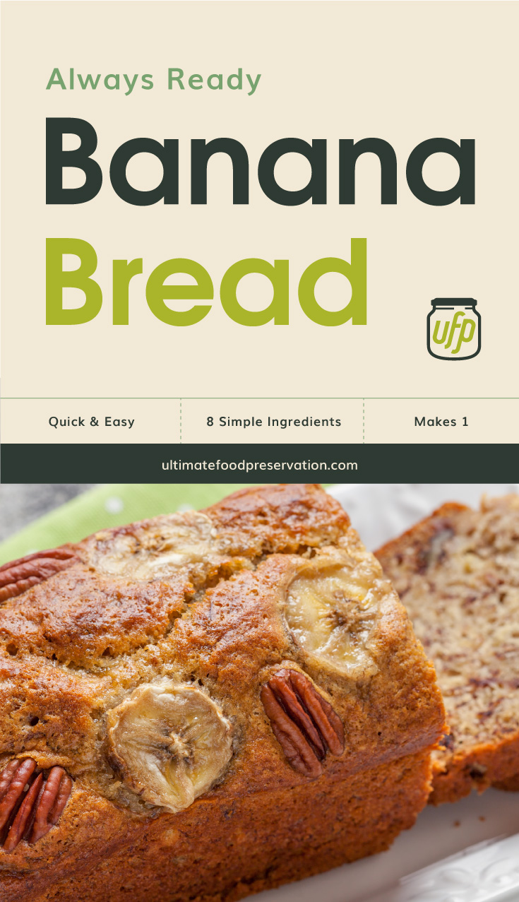 """Text area that says  """"Always Ready Banana Bread , Quick & Easy, 8 simple ingredients, makes 1 , ultimatefoodpreservation.com"""" followed by a photo a loaf of banana bread with slices banana and pecan on top"""