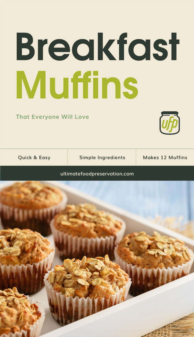 "Text area that says ""Breakfast Muffins That Everyone Will Love, Quick & Easy, simple ingredients, makes 12 muffins , ultimatefoodpreservation.com"" followed by a photo muffins on a white tray"