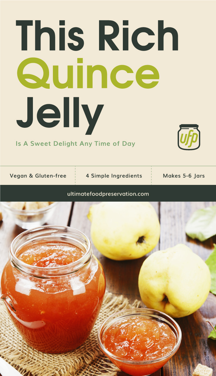 """Text area that says  """"This Rich Quince Jelly Is A Sweet Delight Any Time of Day, Vegan & Gluten-free, 4 simple ingredients, makes 5-6 jars, ultimatefoodpreservation.com"""" followed by a photo of a clear glass jar containing quince jam next to fresh quince fruit"""