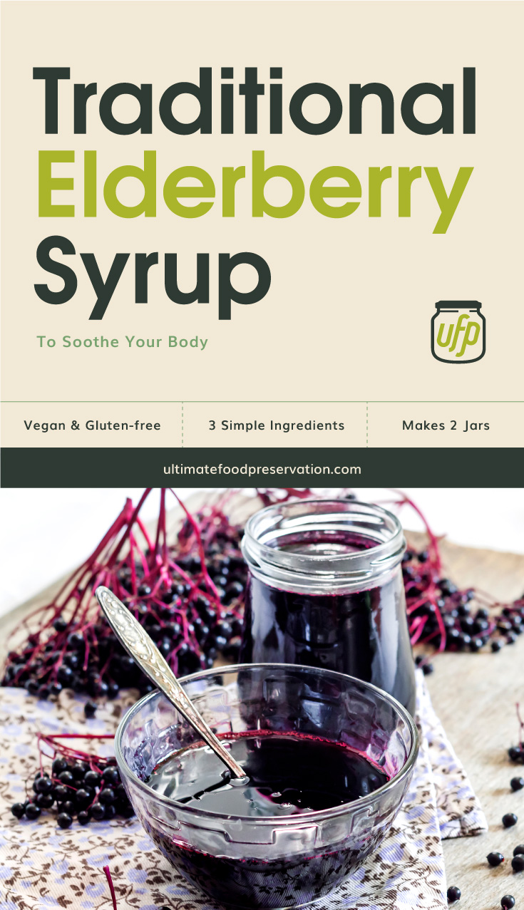 """Photo of text area that says """"Traditional Elderberry Syrup To Soothe Your Body, vegan and gluten-free, 3 simple ingredients, makes 2 jars, ultimatefoodpreservation.com"""" followed by a photo of clear glass jar and clear glass bowl filled with elderberry syrup"""