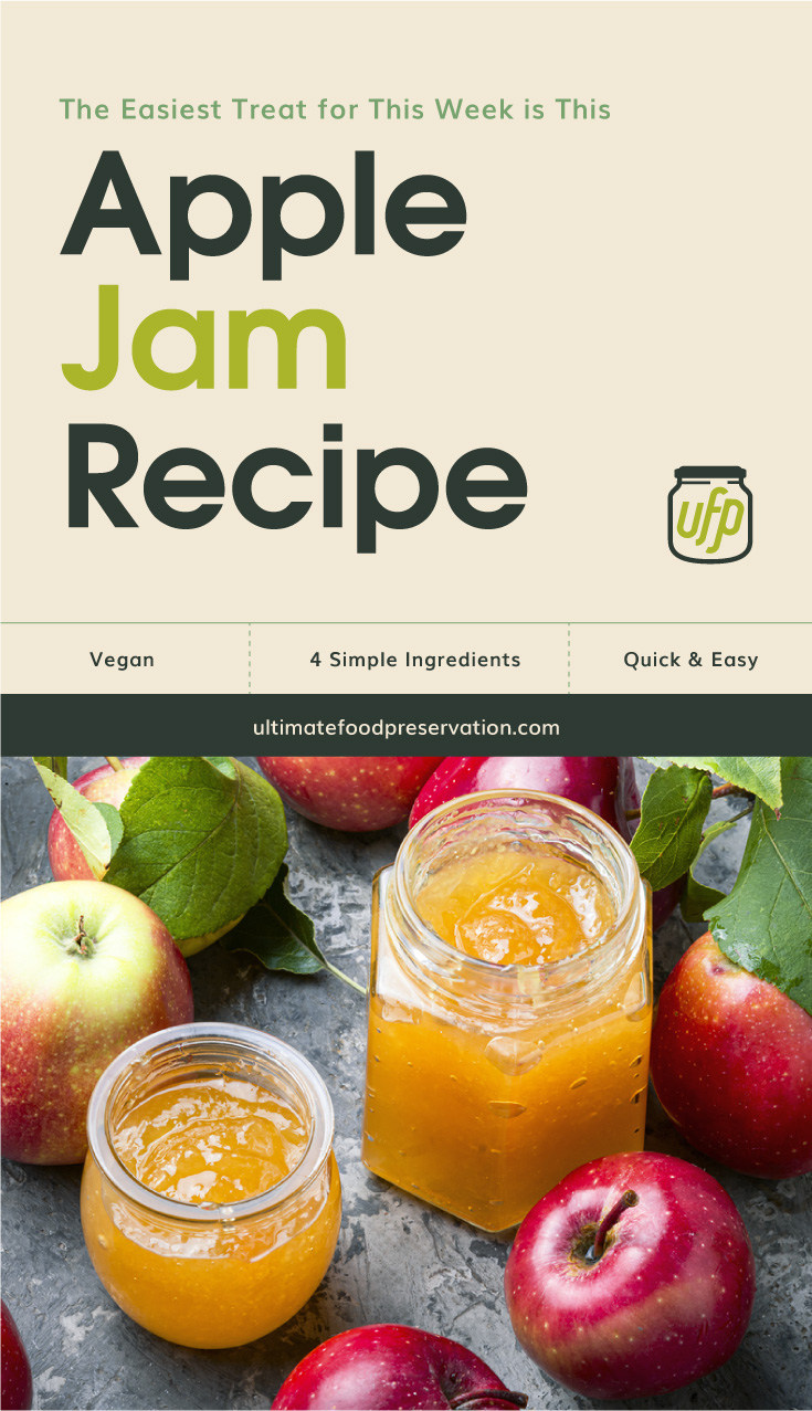 """Text area that says """"The Easiest Treat for This Week is This Apple Jam, vegan, 4 simple ingredients, quick and easy, ultimatefoodpreservation.com"""" followed by a photo of a two clear jars filled with apple jam surrounded by apples"""