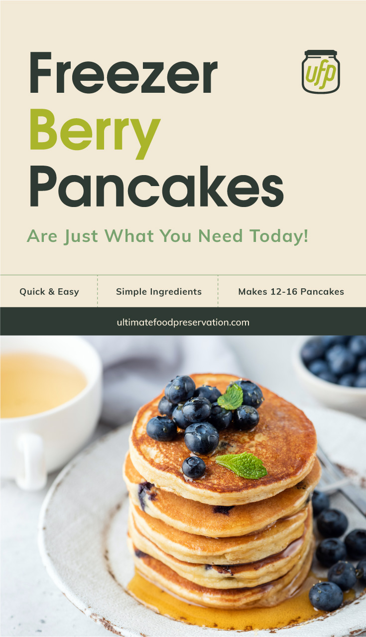 """Text area that says """"Freezer Berry Pancakes Are Just What You Need Today!, Quick & Easy, simple ingredients, makes 12-16 pancakes , ultimatefoodpreservation.com"""" followed by a stack of blueberry pancakes"""