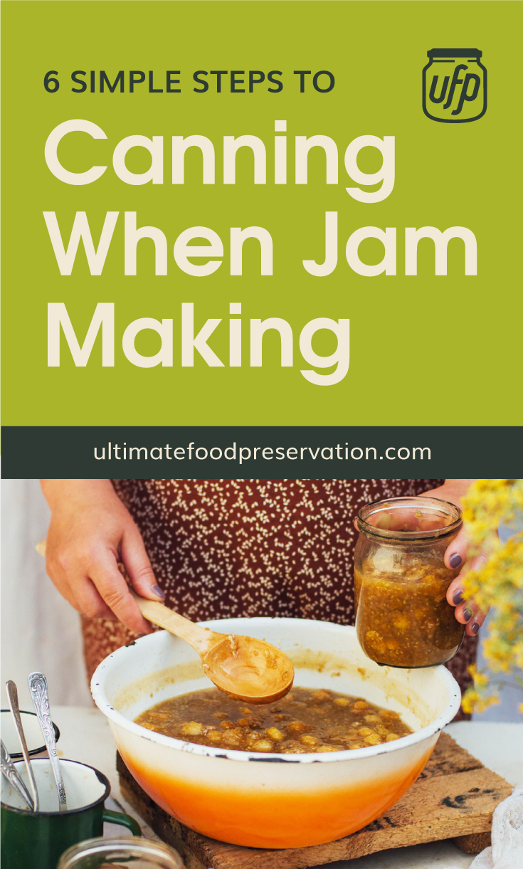 """Text area that says 6 Simple Steps to Canning When Jam Making , ultimatefoodpreservation.com"""" followed by a photo of a woman transfering a yellow fruit jam from a bowl to a clear jat using a spoon"""