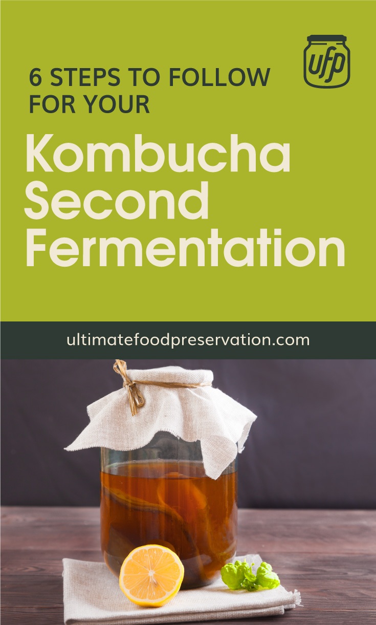 """Text area that says """"6 Steps To Follow For Your Kombucha Second Fermentation, ultimatefoodpreservation.com"""" followed by a photo of a jar of fermented kombucha beside half a lemon on a table napkin"""