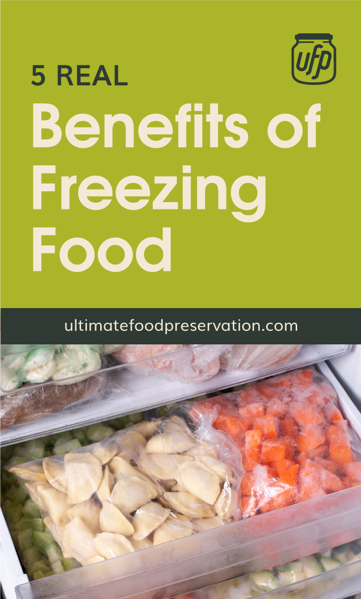 """Text area that says """"5 Real Benefits of Freezing Food, ultimatefoodpreservation.com"""" followed by a photo of a woman placing a bag of vegetables in the freezer"""