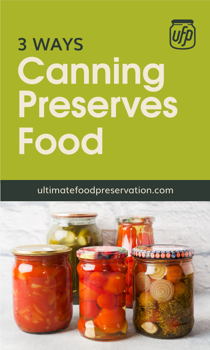 """Text area that says """"3 Ways Canning Preserves Food, ultimatefoodpreservation.com"""" followed by a photo of a variety of canned food"""